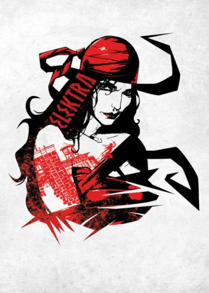 Marvel Comics Metall-Poster The Defenders Elektra Assassin 32 x 45 cm