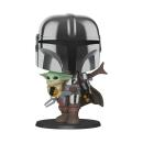 Star Wars The Mandalorian Super Sized POP! Vinyl Figur The Mandalorian holding The Child 25 cm